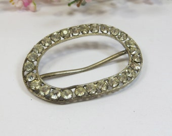 Old Crystal Set Buckle, Oval Rhinestone Crystal Buckle for Upcycling, Old Paste Stones Crystal Silverfoil Oval Silvertone Buckle Part