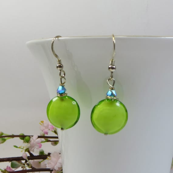 Lime Green Murano Earrings, Key Lime Green Murano Venetian Glass with Sterling Silver and Swarovski Crystal, Happy Colours to Make You Smile