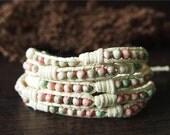 Rain Flower Stone Beaded Wrap Bracelet Leather Wrap Bracelet  11847