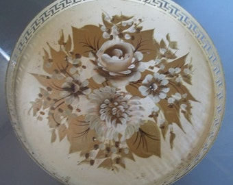 Hand Painted Gold and Ivory Metal Tray, Vintage Tray, Serving Tray, Gold Flowers, Gold Leaves, Shabby Chic, Home Decor