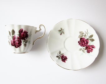 Mid Century Adderly Fine Bone China - English Tea Cup - Elegant Tea Party Cup And Saucer - Burgundy Rose Floral Pattern - Vintage Gift Idea