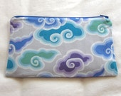 Cloudy Zipper Pouch / Pencil Case / Make Up Bag / Gadget Sack