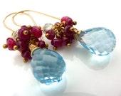 December Birthstone Earrings. Ruby and Blue Topaz Gemstone Jewelry. Handmade Cluster Earrings. Coupon Code BlackFriday20