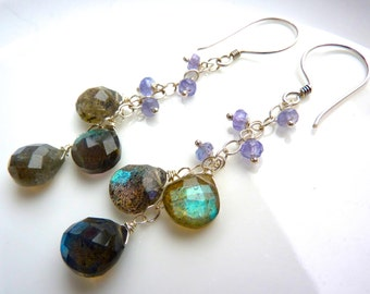 LAST ONE. Purple Tanzanite, Flashy Blue & Grey Labradorite Cluster Earrings. Fashion Chandelier. Chain Drop.