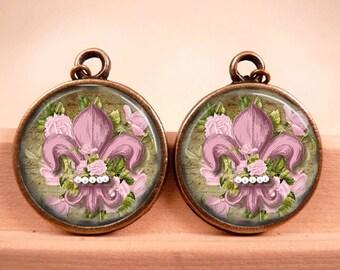 Fleur de Lis Earrings Tile Earrings Fleur de lis Jewelry Brass Earrings Brass Jewelry Pink Earrings Tile Jewelry