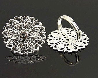 1pc ring 1nch Filigree Adjustable Ring blank glue on jewelry finding finger ring use as a base for any flat back stone    814x