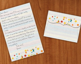 printable confetti writing paper with envelope, stationery for pen pals, snail mail