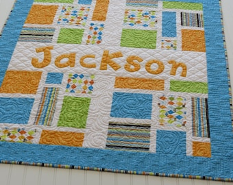 Personalized Baby Quilt with Name Applique Fabric Letters in Orange, Blue, Green, Argyle
