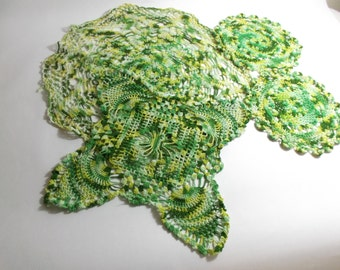 Doily Lot of 4 Hand Crocheted Doilies 1960s Variegated Green Table Scarves St. Patricks's Day Decor