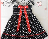 Girls black and white polka-dot dress, Halloween dress for girls, Toddler black and white dress, baby girls black and white polka-dot dress