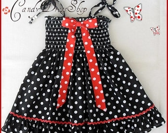 Black and white polka-dot dress for girls, Girls Halloween dress, Toddler black and white dress, baby girls black and white polka-dot dress