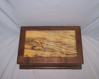 Fancy Walnut Jewelry Box with Spalted  Maple paneled top from our Prestige Collection 15''x10 1/4''x5''