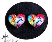 50% off-  Heart Handmade Photo Wood Cut Cabochon  (WAH-34)-(Back White)