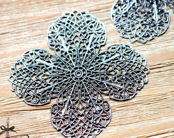 Antiqued Silver  plated RAW brass Filigree  Jewelry Connectors Setting Cab Base Connector Finding  (FILIG-AS-33)