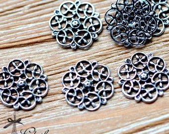Antiqued Silver  plated RAW brass Filigree  Jewelry Connectors Setting Cab Base Connector Finding  (FILIG-AS-27)