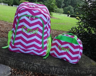 Personalized  Girls  Backpack   Pink  Chevron Backpack and Lunch Box Set Pink and Green