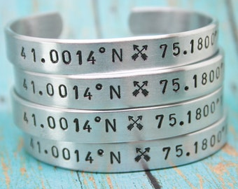 Bracelet SET of 5 CUSTOM Personalized Bracelets Hand Stamped Cuff Aluminum Latitude Longitude Multiple Fonts Custom Coordinates Quote Words