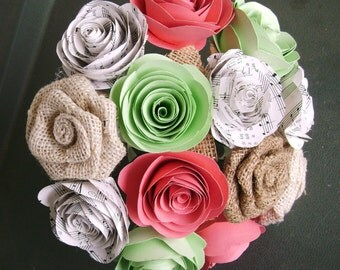 hymnal sheet music spiral roses with burlap roses  colored paper roses for accent alternative bridal bouquet toss outdoor country rehearsal