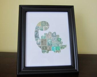 Postage Stamp Art - Dinosaur - Used Postage Stamps - Framed Postage Stamp Art - Wall Art - dino art