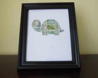 Postage Stamp Art - Turtle - Used Postage Stamps - Framed Postage Stamp Art - Wall Art - Turtle Art