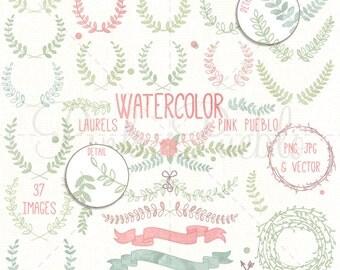 Watercolor Laurel Clipart, Laurel Wreath Clipart, Watercolor Clipart, Watercolor Flowers - Commercial and Personal Use
