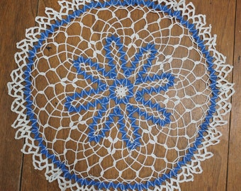 Vintage Blue and White Crochet Doily Very Unique Pattern