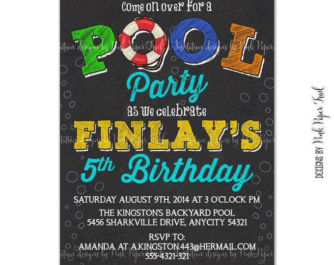 Pool Party Invitation, Summer Birthday, Summer Party, Birthday Pool Party, Printable Invitation