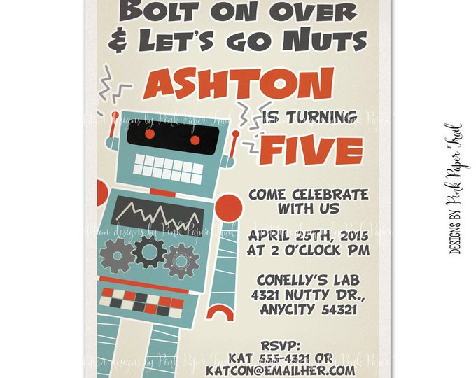 Retro Robot Themed Invitation, Customizable Wordings, Birthday, Baby Shower, Etc., Print Your Own Invitation