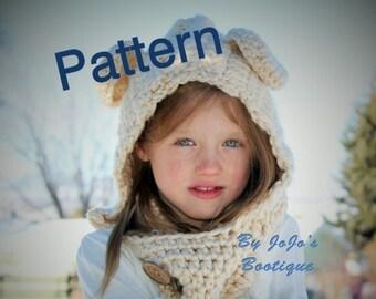 PDF Hooded Bear Cowl PATTERN - Bear Cowl Pattern - Teddy Bear Cowl - Children's Hooded Cowl Pattern - by JoJosBootiqu