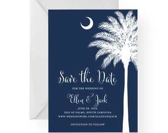 South Carolina Palmetto Moon Save the Date with Silhouette, Wedding, Engagement, Island Wedding, by Palmetto Greetings