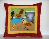 SALE, Barnyard Pillows, Farm, Kids Bedding, Chicken