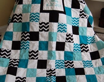 Queen Size Signature Quilt, Your Choice of Fabrics, Wedding, Hand Quilted