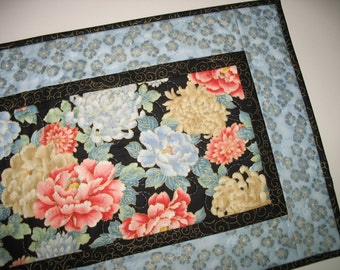 Elegant Table Runner, Asian Floral, quilted, metallic gold, fabric from Red Rooster