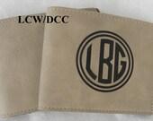 WALLET Monogram Gift Leatherette Business Money Credit Card Holder Custom Personalized 4 1/4 x 3 1/2 Light Brown Soft  Wedding Birthday Boy