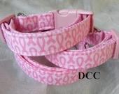 Dog Collar Breast Cancer Awareness Susan G Komen Cure Pink Ribbon fabric Choose Size Adjustable Dog Collar with D Ring Hope Cancer