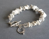 Reserved for Trista ~ Custom White Boho Wedding Bracelet with Sterling Silver Toggle Clasp and Charm