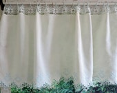 Vintage Lace Curtains Valance Free Shipping Crocheted White Top for Curtain Rod Hardanger Design Embroidery on Bottom