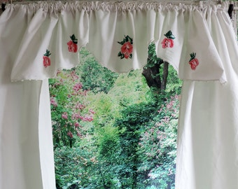 Vintage Sabby Chic Pink Rose Applique Curtains with Valance with Crochet Edge Handmade Free Shipping Free Shipping