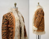 Vintage Embroidered Shearling Afghan Jacket Coat Small// 70s Shearling Coat Embroidered Sheepskin Fur Jacket Hippie Boho Mongolian