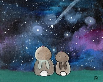 Starry Night Sky Bunny Rabbit Woodland Animals Kids Art Print Wall Nursery Decor Whimsical Storybook Artwork for Children