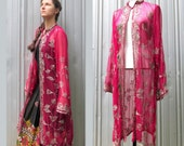 Sheer Pink Tunic with Embroidery and Sequins - Coat Dress VINTAGE Formal Indian Attire