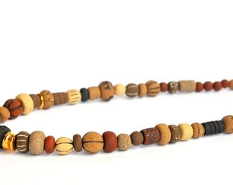 Ceramic necklace Handmade ceramic beads Earth colors Artisan clay beads Eclectic Rustic bohemian primitiva ancient ceramic jewelry