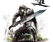 Squall from Final Fantasy VIII with Japanese Calligraphy