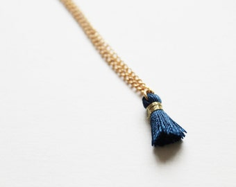 tiny tassel -necklace (blue silk tassel on a gold plated 16 inch chain)