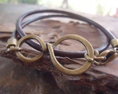 CONNECTED IN BRONZE leather wrap bracelet in dark brown (275a)