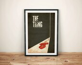 The Thing, Science Fiction and Horror Movie Poster // Blood Trail, Metal Screw, and Cracked Door Illustration