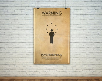 Psychokinesis // Vintage Science Experiment Warning Poster // Finge Inspired Wall Art for the Budding Mad Scientist