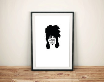 Lydia Deetz, Beetlejuice Character Quote Poster // Tim Burton Character Silhouette with Typography Art