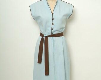 Vintage 80s Dress / 70s Dress  /1980s Dress / Blue Dress / Empire Waist Dress / Sun Dress /Matching belt