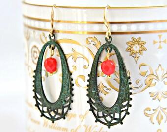 Hoop earrings. Filigree earrings. Gypsy earrings.  Boho earrings. Patina earrings.  Red hoop earrings